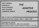 The Additive Process, Hyde Park Art Center, Chicago, 1983